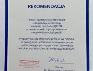 Rekomendacja od Polskiego Towarzystwa Fotowoltaiki.